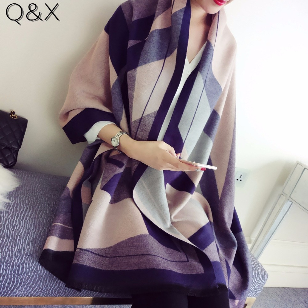 SC6 2020 New Women Winter Plaid Cashmere Scarf Multicolor Double Sided Alphabet Women Shawl Echarpes Foulards Cachecol Hot Wrap