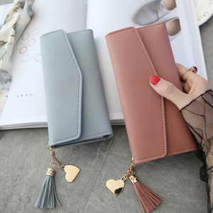 Long Women's Wallet Female Purses Tassel Coin Purse Card Holder Wallets Female Pu Leather Clutch Money Bag Pu Leather Wallet(China)