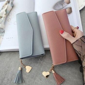 Long Women's Wallet Female Purses Tassel Coin Purse Card Holder Wallets Female Pu Leather Clutch Money Bag Pu Leather Wallet