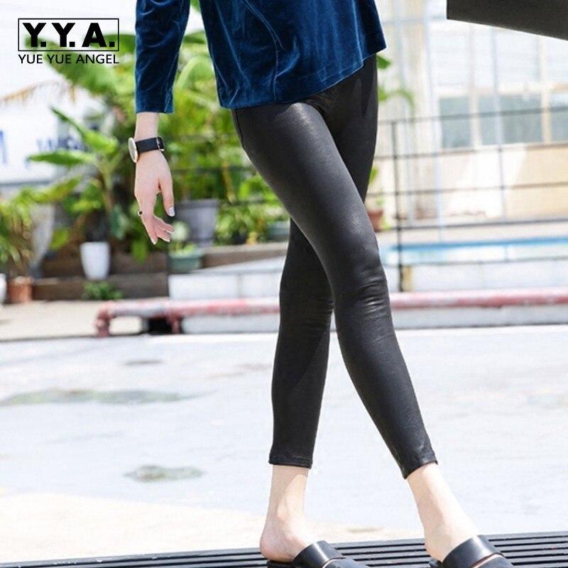 Одежда высшего качества для женщин стрейч Натуральная кожаные зауженные брюки Push Up обтягивающие леггинсы пикантные открытые уличная панк