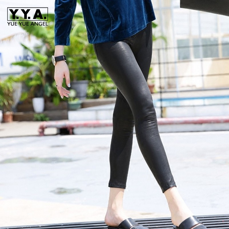 Top Quality Women Stretch Genuine Leather Pencil Pants Push Up Skinny Leggings Sexy OL Streetwear Punk Sheepskin Biker Trousers