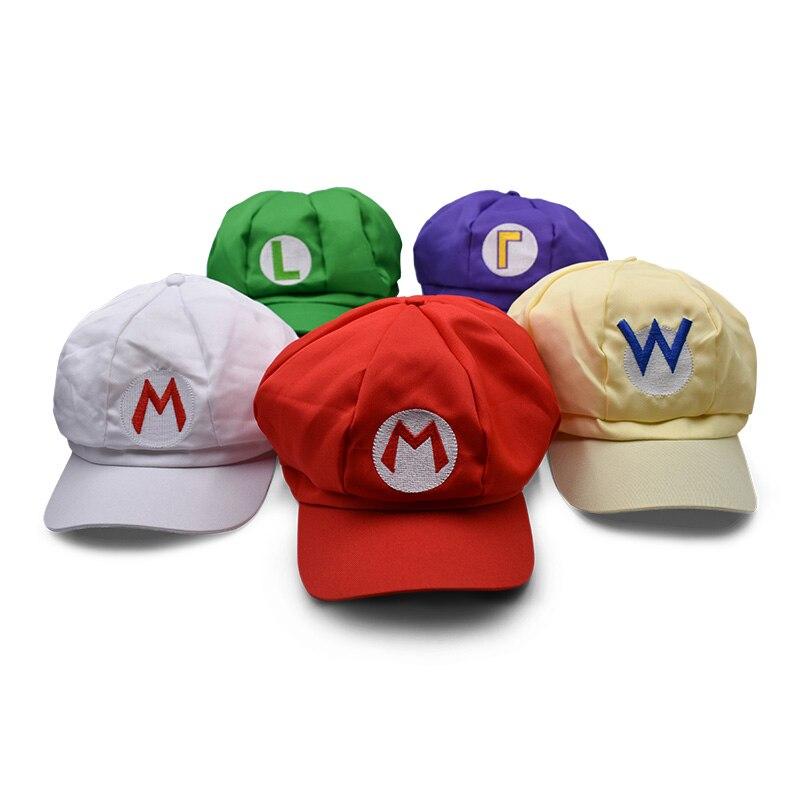 5 Colours Anime Super Mario Hat Cap Luigi Wario Waluigi Bros Cosplay Baseball Costume Cartoon Hats Plush Toys hatsune miku winter plush doll