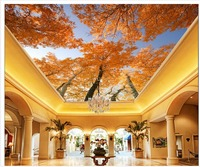 3d customized wallpaper Yellow Leaf Trees sky tree murals photo wall murals wallpaper Home Decoration