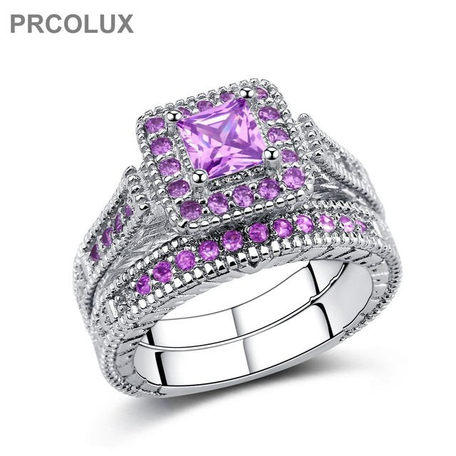 Prcolux Band Female Princess Cut Ring Set 925 Sterling Silver Jewelry Purple Cz Wedding Engagement Rings