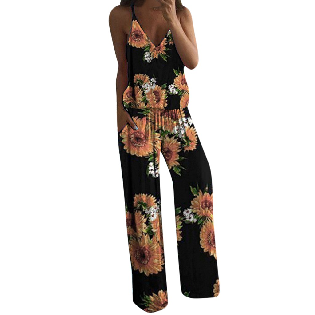 Body Jumpsuit Women Body Mujer Sexy bodysuit Summer Sexy Flower Printed Camisole Sleeveless V Neck Jumpsuit Mujer Clothes2020 Z4