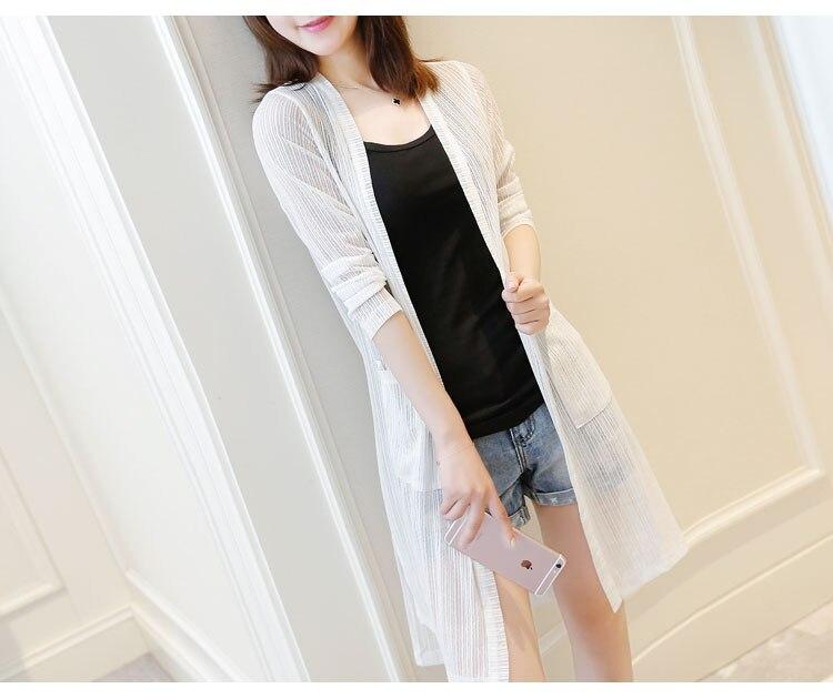 Longo Cardigan de malha roupas de Proteção Solar mulheres Verão preto rosa branco Casual Solto Top Feminino 2019 moda Fino Sol Capa up