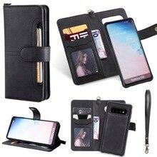Flip Fall für Samsung Galaxy S10 Luxus Abnehmbare Leder Brieftasche Telefon Fällen Magnet Verschluss Abdeckung für Samsung S10 Plus S10 E
