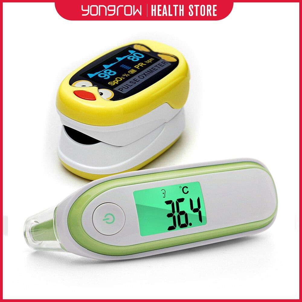 Yongrow jaune bébé pédiatrique Portable oxymètre de pouls du bout des doigts et thermomètre auriculaire frontal médical LCD infrarouge numérique