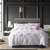 New Bedding Set Feather embroidery Duvet Cover Sets Bed Linen Flat Bed Sheet Set Pillowcase Home Textile Drop Ship