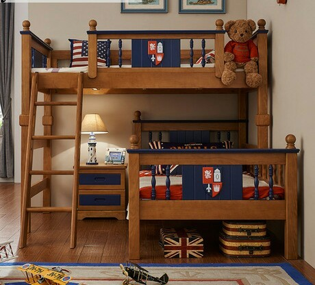 Children Bed kids Furniture home Furniture oak solid wood kids beds child bed chambre bebe bunk bed with ladder & cabinet hot 1