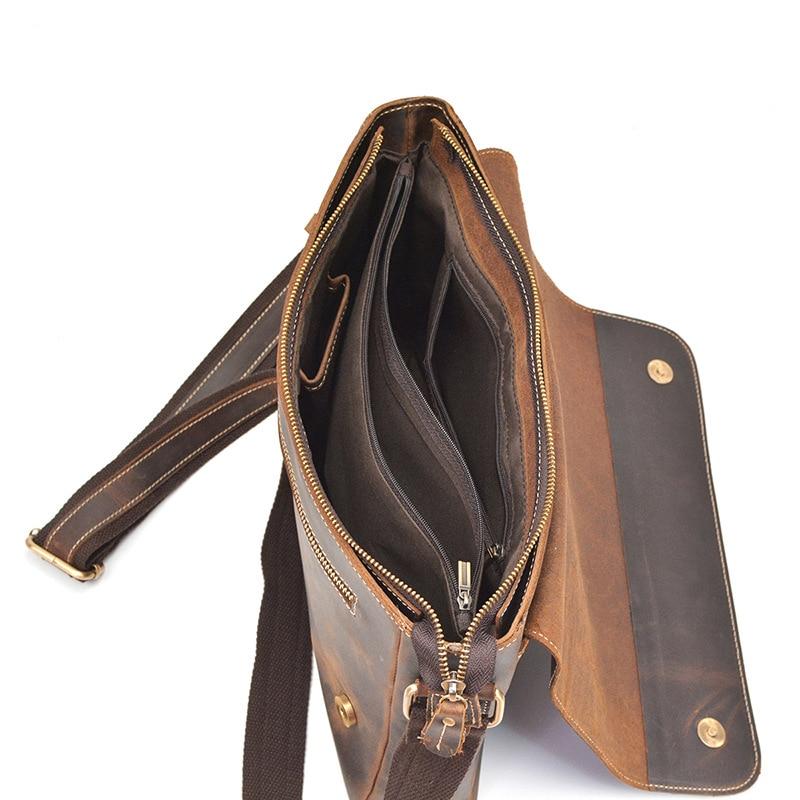 Retro Crazy Horse Leather Men's briefcase Shoulder Messenger Bag Genuine Leather handbag Flap Buckle business Laptop briefcases