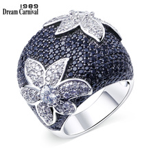 DreamCarnival 1989 Big Flower Rings for Women Wedding Party Statement Jewelry Rhodium Gold-color Black Clear CZ Anillos Mujer