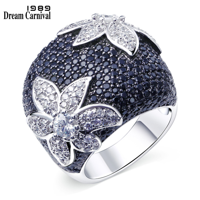 DreamCarnival1989 Big Flower Ring for Women Wedding Party Contrast Statement Jew