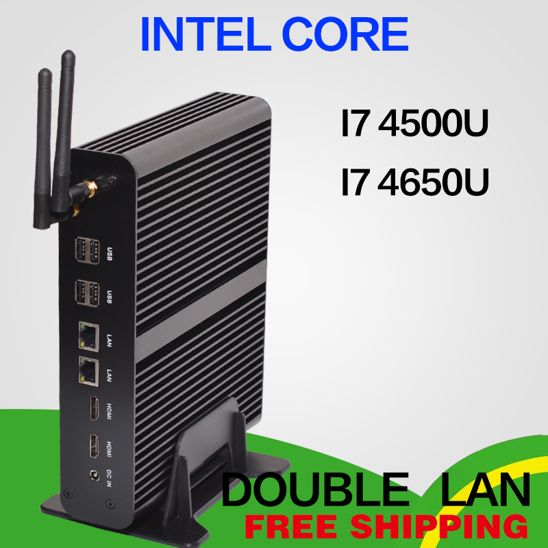Fanless Mini pc i7 4650U i7 4500U Barebone HTPC Intel Nuc Sans Ventilateur Ordinateur Broadwell Graphique