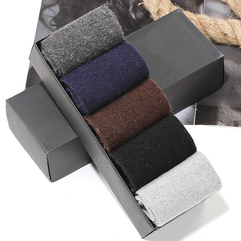 New Spring Autumn Winter Men s Business Socks Thickening High Density Keep Warm Rabbit Wool Upscale