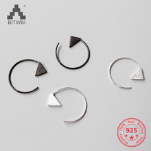 Simple 925 Sterling Silver Geometric Triangle Brushed Earrings for Women Girls Prevent Allergy Sterling-silver-jewelry