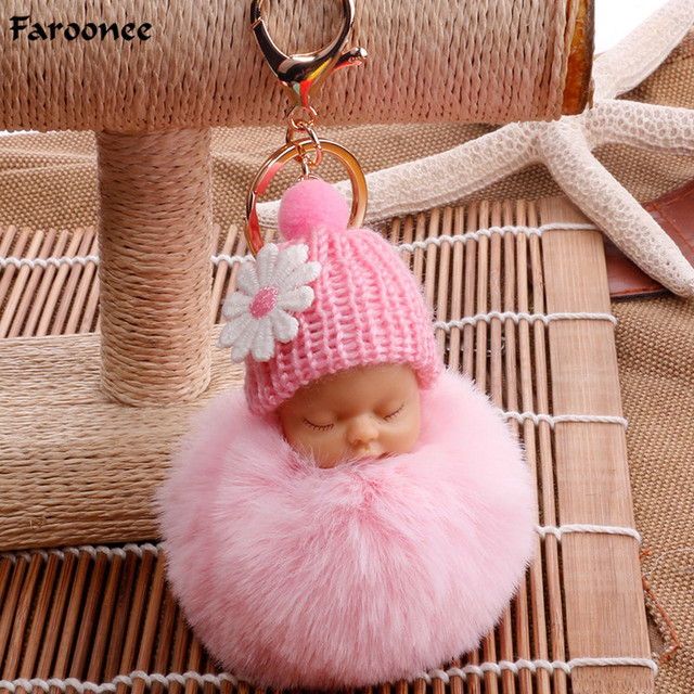 b43d2999e0 Sleeping Baby Doll Keychain Foot Doll Pompom Fake Rabbit Fur Ball Key Chain  Car Keyring Women