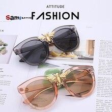 Samjune Luxury Plastic Big Bee Pilot Sunglasses Mirror Lenses UV400 Retro Men Women Shades