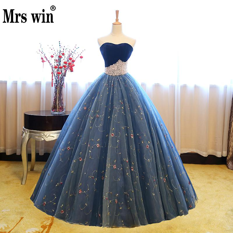 Prom     Dresses   2018 New The Banquet Sexy Strapless Ball Gown Luxury Embroidery Vintage Party   Prom     Dresses   F