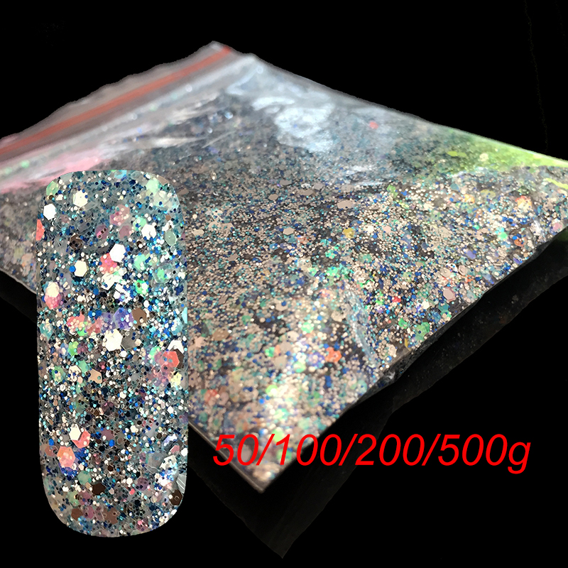 Wholesale Christmas Craft Art Decoration Manicure Sliver Blue Mix Size Nail Glitter Hexagon Sequins UV Dust Flash Powder BL0709 mioblet 2g box mirror effect nail glitter powder shiny rose gold purple mirror chrome powder dust nails art pigment diy manicure