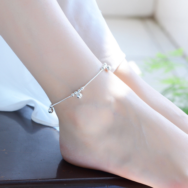 TJP Romantic Bells Silver Anklets For Women Jewelry New Fashion Girl 925 Silver Bracelets Women Wedding Party Lady Bride bijou