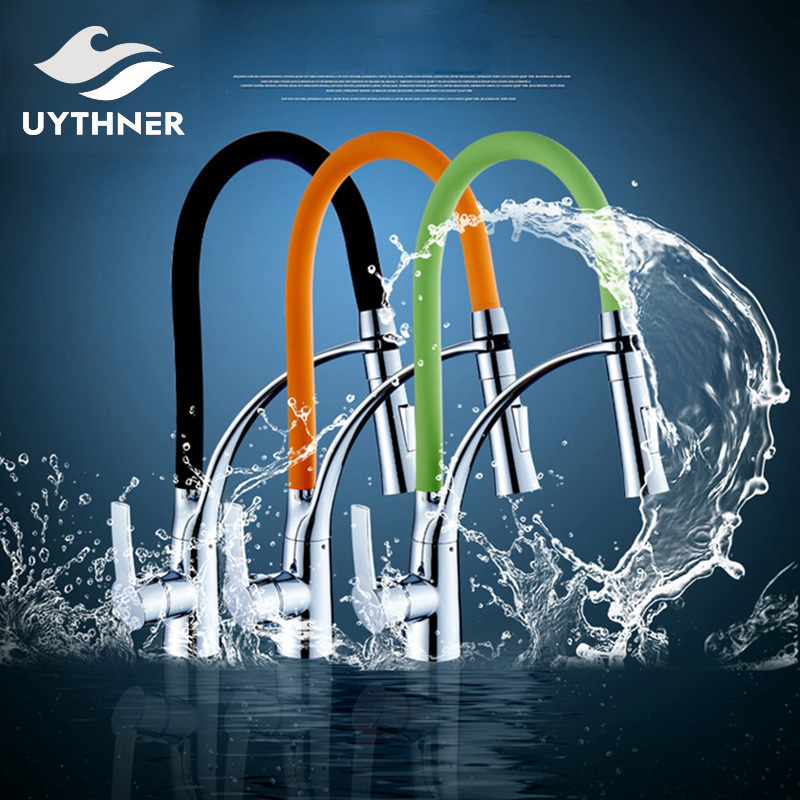 Uythner Chrome Finished w/ Three Color Hose Pull Out Kitchen Faucet Deck Mounted Mixer Tap
