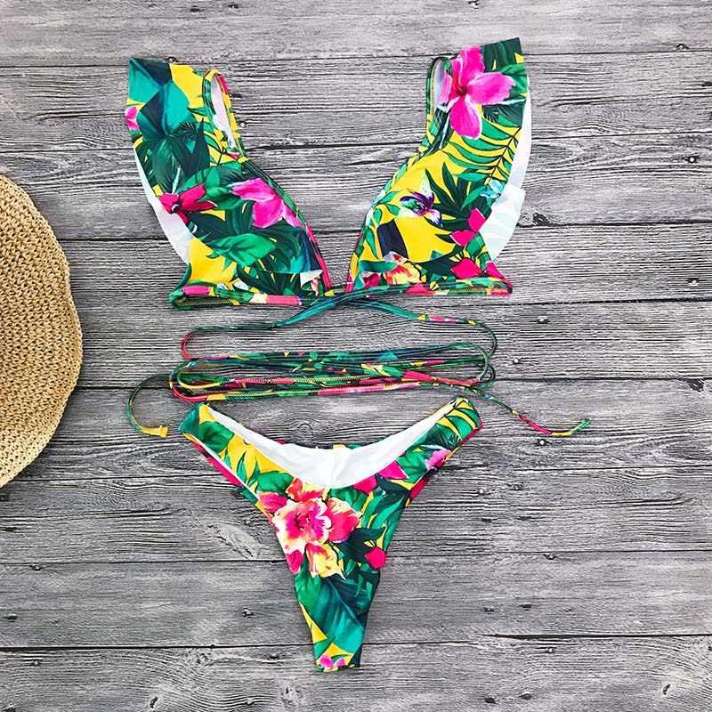 3896483bcd ... 2019 Sexy Bikini Mujer Bikini Set Brazilian Ruffle Bikinis Floral  Swimwear Women Bathing Suit Beach Wear ...