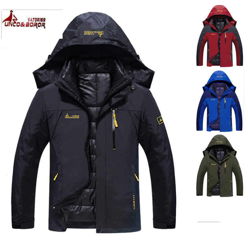 купить UNCO&BOROR Outdoor 2 in 1 Jacket Winter Climbing Waterproof Thermal Hiking Jacket Men Camping Windproof Skiing Jacket 6XL онлайн