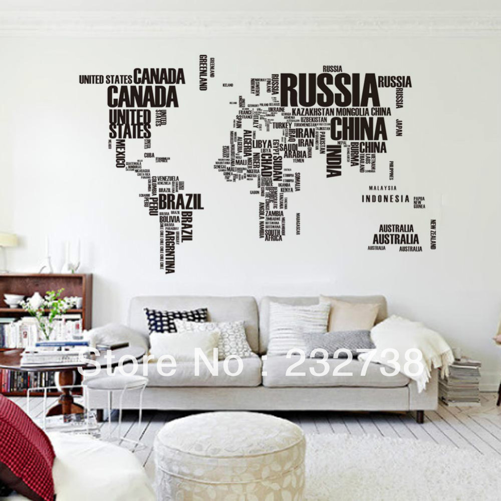 English Alphabet World Map Large Wall Stickers On The Wall In Home  Decoration Office Map Sticker W09 Free Shipping In Wall Stickers From Home  U0026 Garden On ... Part 51