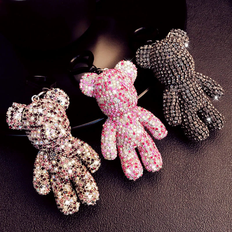 High Quality Full Rhinestones Gloomy Bear Keychain Women Men Car Bag Charms Accessories Key Chains Holder Jewelry Gift Chaveiro