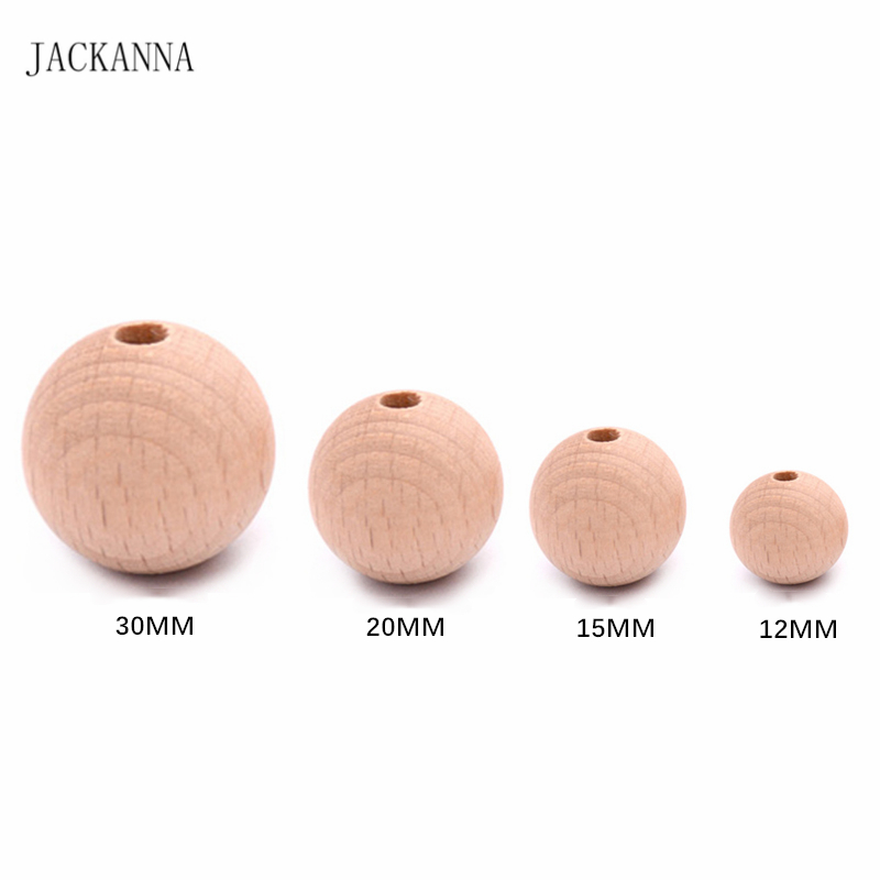 12MM 15MM 20MM 30MM Smooth Beech Wood Teether Beads DIY Pacifier Clip Accessories Round Wooden Organic Baby Teething Bead 100PCS