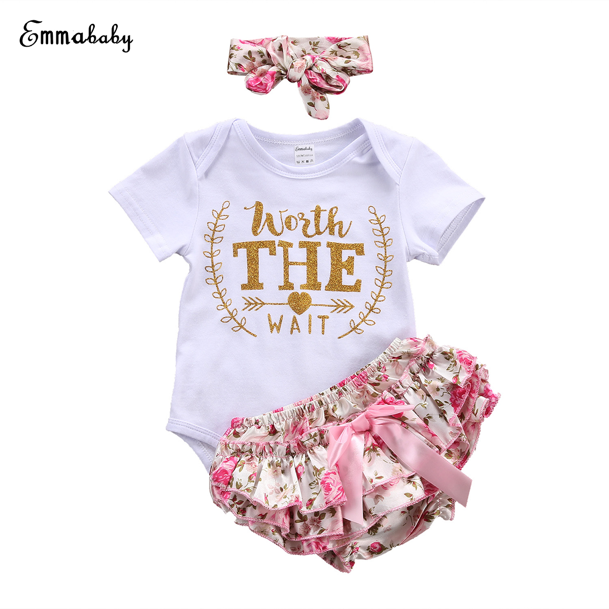 Baby Girls Clothes Todder Baby Girl Playsuit Floral Romper Pants+ Headband Outfit Set Clothes 0-24M