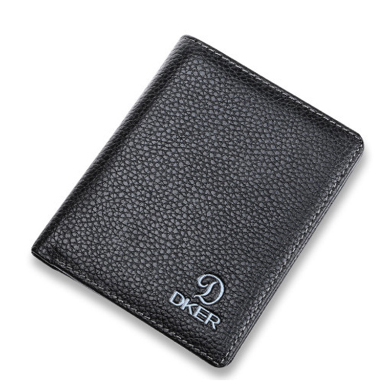 Hot Sell Men Wallet Short Solid Black Casual Photo Holder Interior Compartment 2017 NewMaras Dream Leather