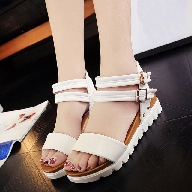 2ea09957ce5e41 Fashion Sandals Women Shoes Simple Casual PU Leather Flat Sandals Ladies  Leisure Comfortable Beach Shoes Zapatos Mujer Shoes