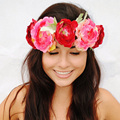 7 Colors Fashion Women Bride Flower Headband Bohemian Plum Flower Crown Hairband Ladies Elastic Beach Hair Accessories