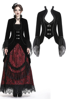 Darkinlove Women Gothic Lolita Short Jackets Coats Stand Collar Victorian Evening Party Jacket Stage Perform Lace Punk Jackers