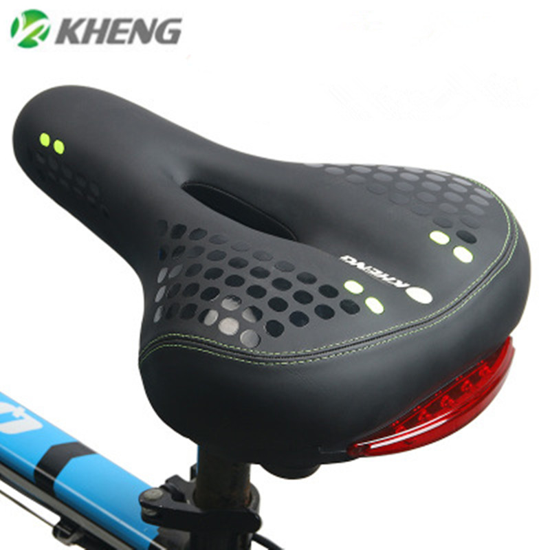 Mountain Road Bike Soft Seat Saddle with Tail Light Widen MTB Cushion Replacemen