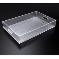 Foggy Acrylic Storage Tray,Frosted Lucite Sundries Trays For All Purpose Home or Hotel Used (30W 20D 5CM)