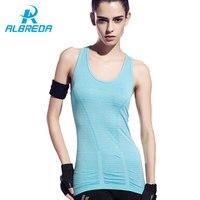 ALBREDA Gym Sports Vest Camisas Sem Mangas Tanque Das Mulheres Tops camisa Sem Mangas Singlet Aptidão Funcionamento Confortável Roupas de Secagem rápida