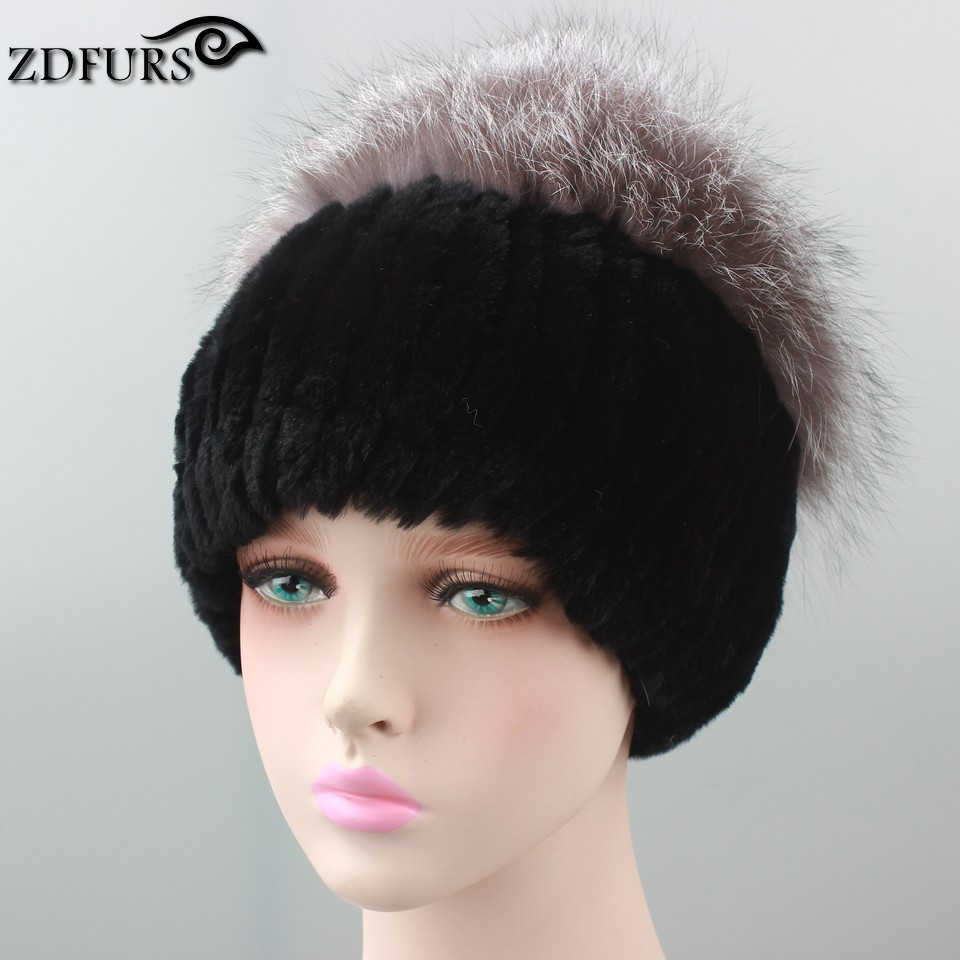 2016 New Arrival Rex Rabbit Fur Hat With Fox Fur Top Knitted Fur Beanies Fashion Women Causal Real Fur Warm Caps for Russian