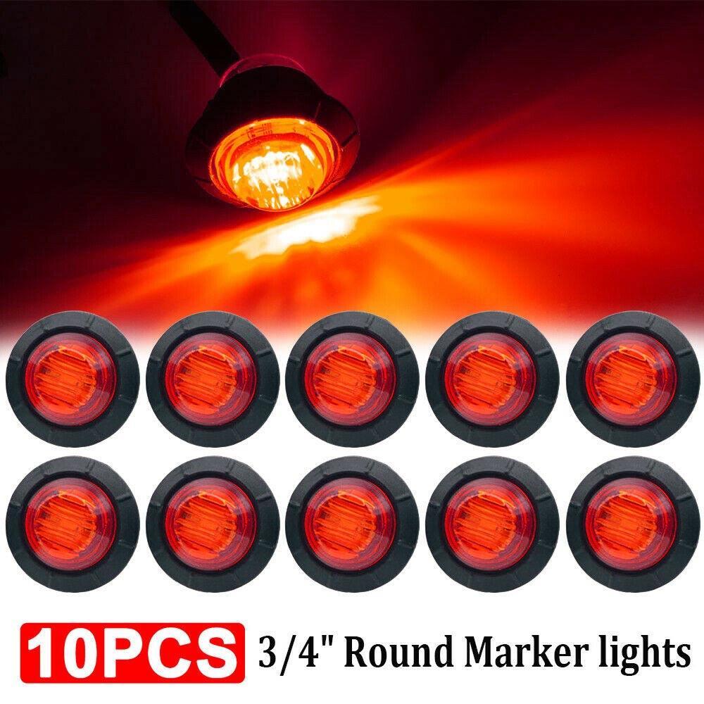 10PCS Red Car External Lights 12V 3 LED Auto Car Bus Truck Wagons Side Marker Indicator Trailer Light Rear Side Lamp