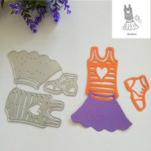 3pcs Girl Clothing Shoes Metal Steel Cutting Dies for DIY Scrapbooking Cards Album Embossing Paper Craft Creative Stencil