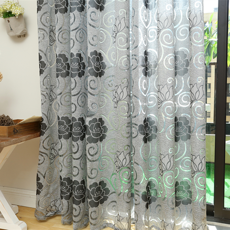 Free shipping rustic floral design coffee curtain kitchen for 3 window curtain design