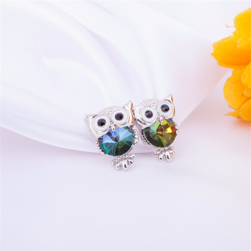 New Design Crystal Women Charms Owl Stud Earrings Cute Colors Fashion Ruby Jewelry White Gold Plated Trendy For Wedding HFNE09