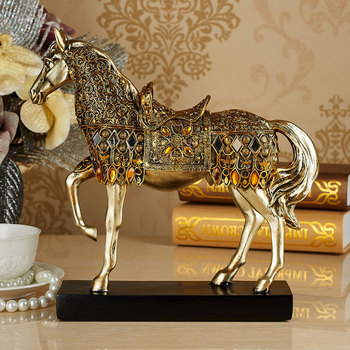 Golden Toned Engraved Horse Trotting Statue