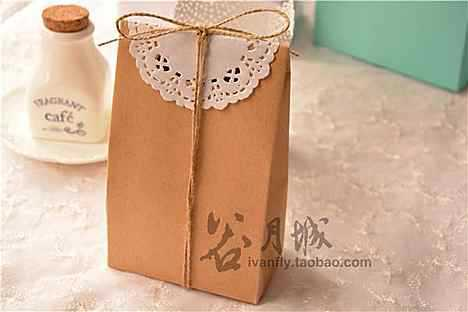 Rustic Craft Paper Bag With Lace Diy Gift Bags Wedding Favor Bag On