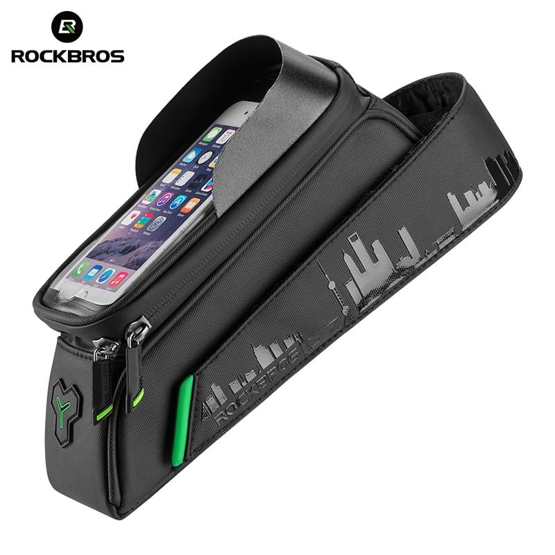 ROCKBROS sacs de vélo écran tactile téléphone sacs étanche à la pluie Top Tube avant cadre sac pour vélo vélo accessoire 5.8/6.0 Smartphone étui
