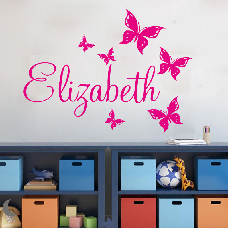 Custom Name Wall Stickers Home Decor Girls Bedroom Sticker Butterflies Personalized Wall Decal Living Room Removable Mural ZA595