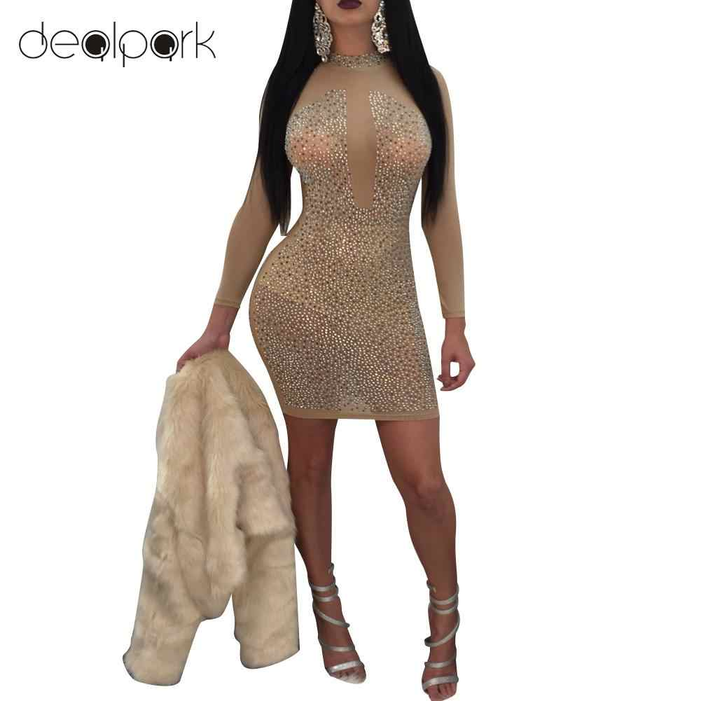 2019 Sexy Turtleneck Bodycon Dress Women Mesh Sheer Dress Rhinestones Long  Sleeve High Neck Night Club 918dfebe0b2f