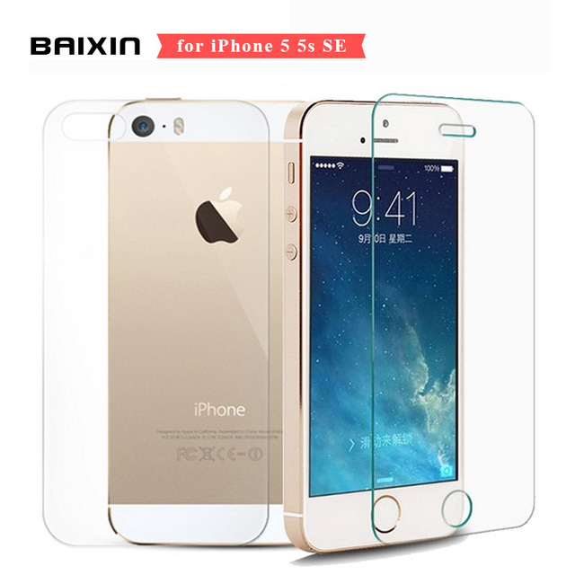 reputable site 8da3c daf7b US $1.45 36% OFF|Front + Back 9H 2.5D Premium Screen Protector for iPhone  5s SE 5c 5 Tempered Glass for iPhone se 5se 5 c Glass Cover Film-in Phone  ...